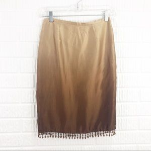 NY & Co silk beaded brown ombre skirt